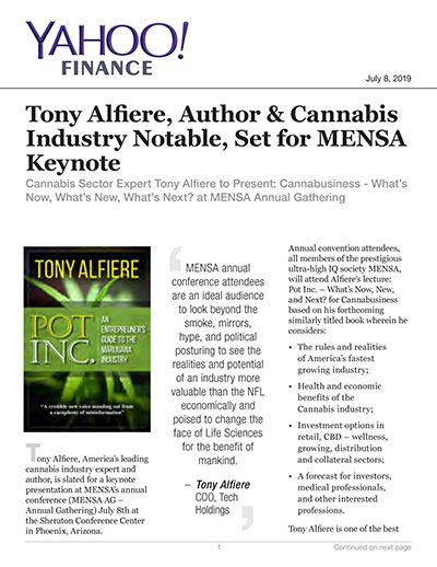 Tony Alfiere, Author & Cannabis Industry Notable, Set for MENSA Keynote