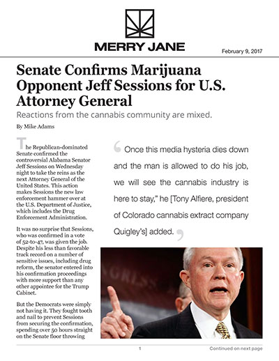 Senate Confirms Marijuana Opponent Jeff Sessions for U.S. Attorney General